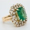 Large emerald and diamond cluster  ring - image 2