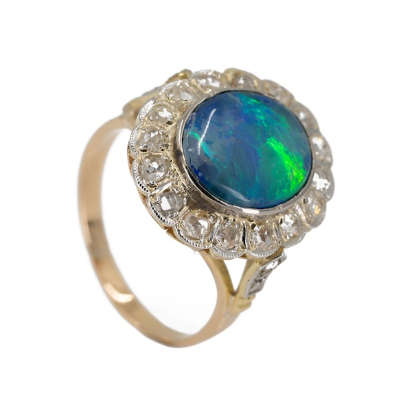 Diamond and black opal cluster ring - image 2