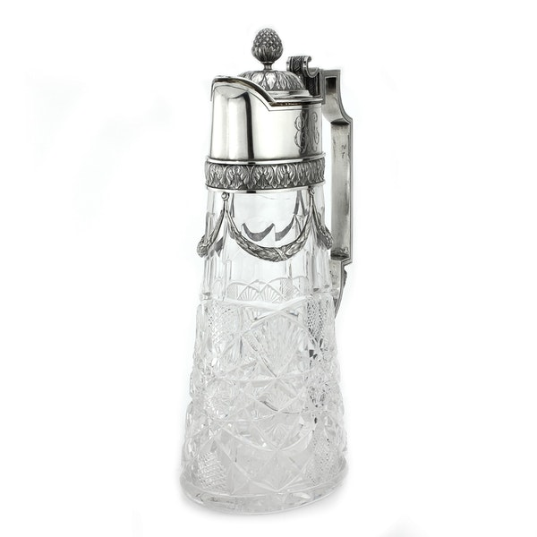 Russian Faberge silver and crystal cut glass Claret Jug, Moscow c.1900 - image 6