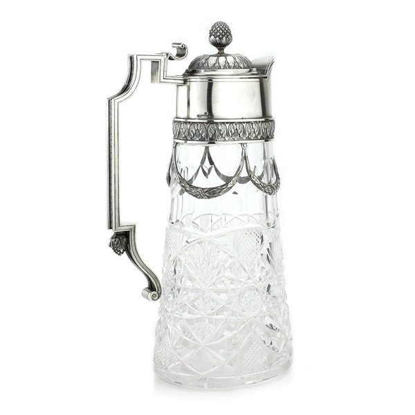 Russian Faberge silver and crystal cut glass Claret Jug, Moscow c.1900 - image 5