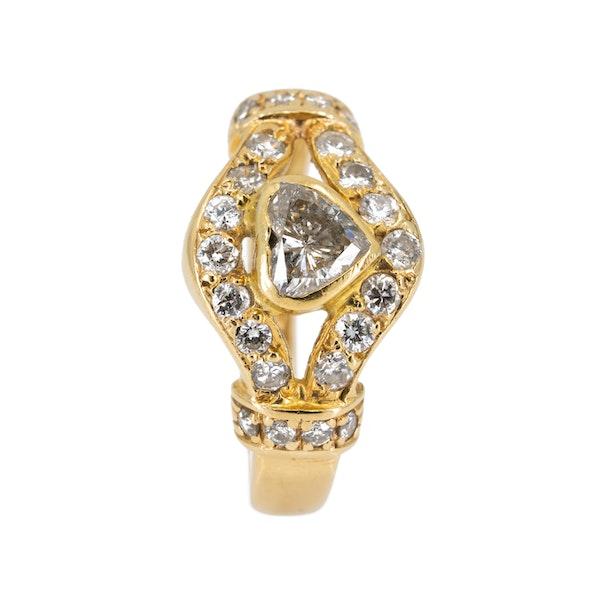 Diamond heart ring with diamond shoulders - image 2