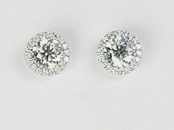 diamond halo cluster ear studs sku 4948  DBGEMS - image 2