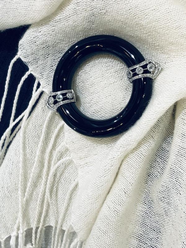 Art Deco Onyx and Diamond Brooch - image 3