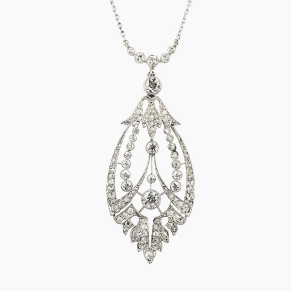 Edwardian Diamond Pendant - image 2