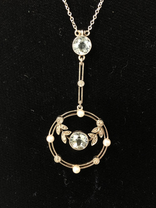 Edwardian Aquamarine, diamond and pearl pendant - image 3