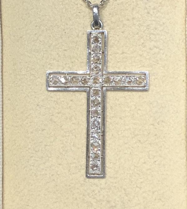 Art Deco Diamond Cross Pendant - image 2