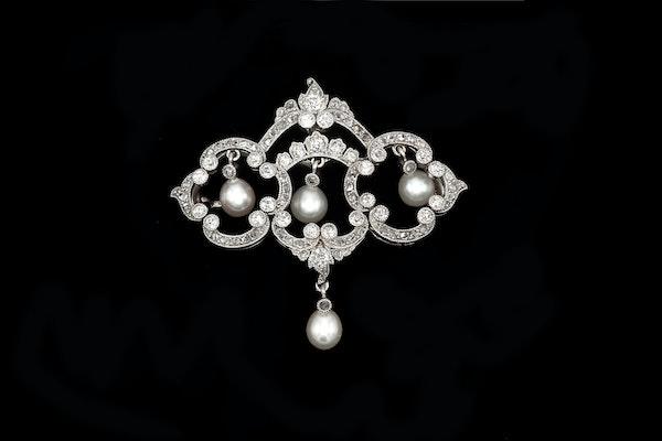 Art Deco Diamond and Pearl Pendant / Brooch - image 2