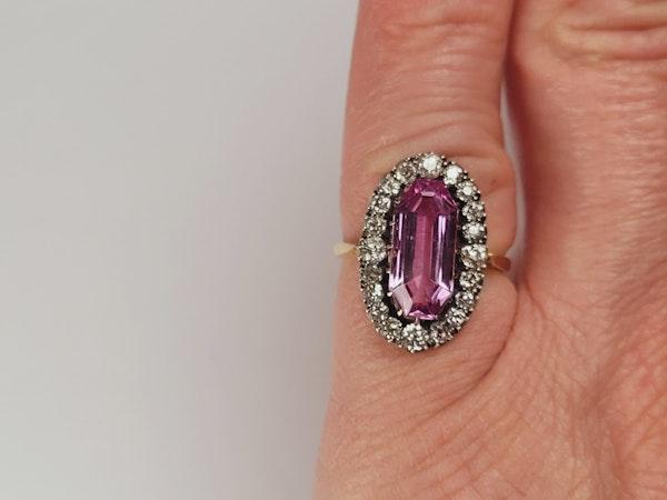 Rare intense pink topaz and diamond ring sku 4952  DBGEMS - image 2