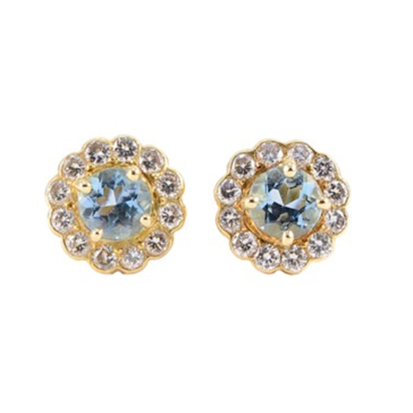 Aquamarine Diamond Earrings in 18ct Gold SHAPIRO & Co since1979 - image 1