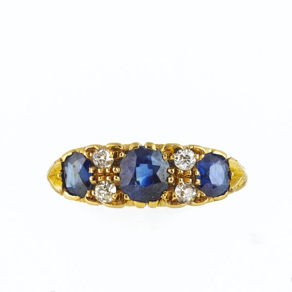 A three Sapphire Diamond Ring - image 3