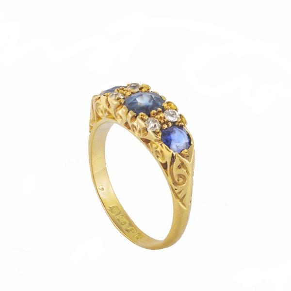 A three Sapphire Diamond Ring - image 4