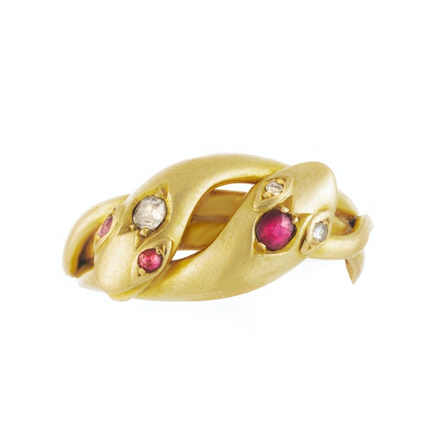 A 1900 Diamond and Ruby Snake Ring - image 3
