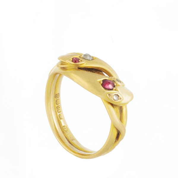 A 1900 Diamond and Ruby Snake Ring - image 4