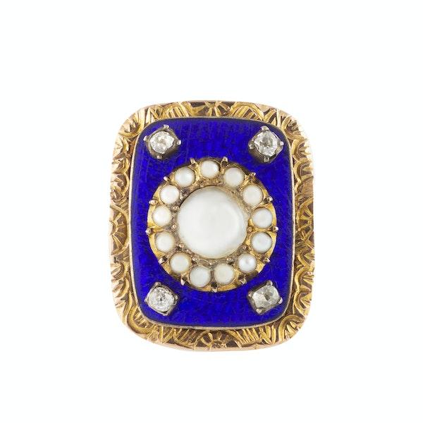 A late Georgian Blue Enamel and Pearl Diamond ring - image 1