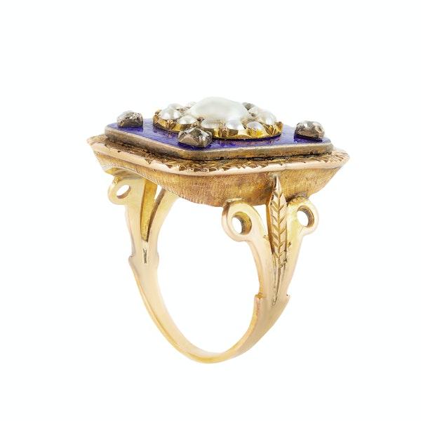 A late Georgian Blue Enamel and Pearl Diamond ring - image 2