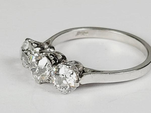 Antique Art deco old cut diamond three stone ring sku 4963  DBGEMS - image 2