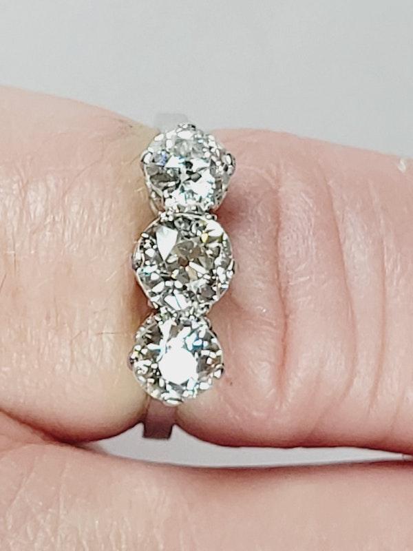 Antique Art deco old cut diamond three stone ring sku 4963  DBGEMS - image 4