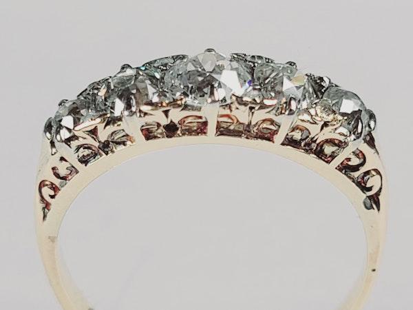 Antique five stone diamond carved half hoop ring sku 4962 DBGEMS - image 2