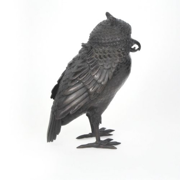 Japanese bronze owl koro - image 2