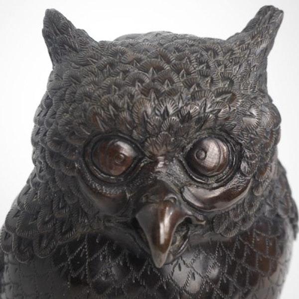 Japanese bronze owl koro - image 5