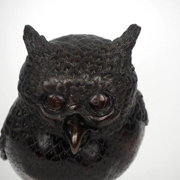 Japanese bronze owl koro - image 3