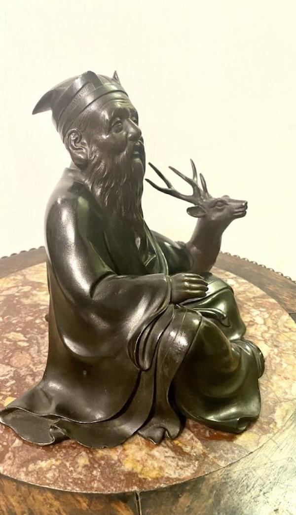 Japanese bronze sculpture of Jurojin and a dear - image 5