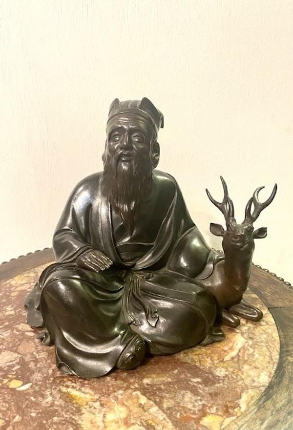 Japanese bronze sculpture of Jurojin and a dear - image 4