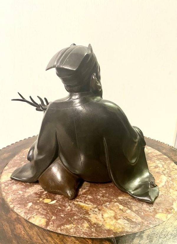 Japanese bronze sculpture of Jurojin and a dear - image 6