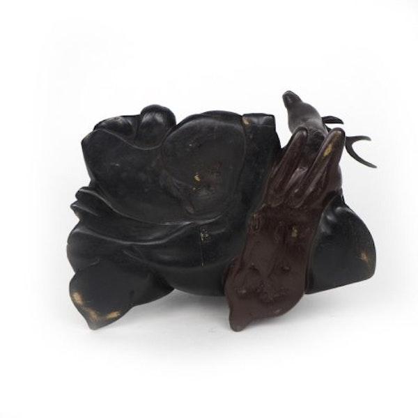 Japanese bronze sculpture of Jurojin and a dear - image 3