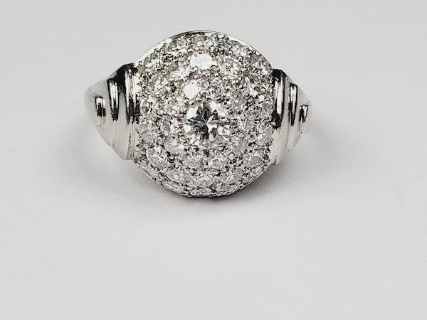 French Art deco pave diamond bombe ring sku 4966  DBGEMS - image 2