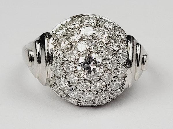 French Art deco pave diamond bombe ring sku 4966  DBGEMS - image 5