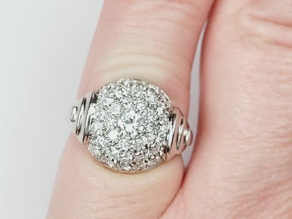 French Art deco pave diamond bombe ring sku 4966  DBGEMS - image 4