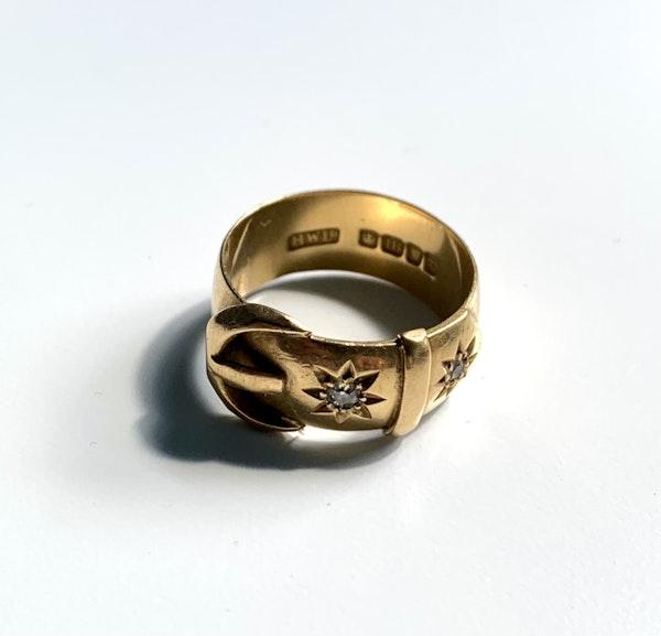 Diamond star design 18ct gold buckle ring. Spectrum - image 2