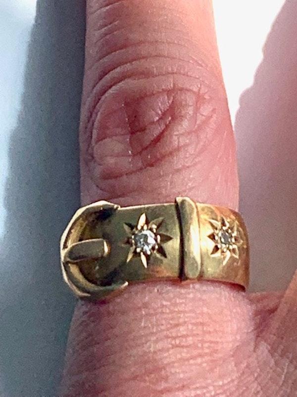 Diamond star design 18ct gold buckle ring. Spectrum - image 3
