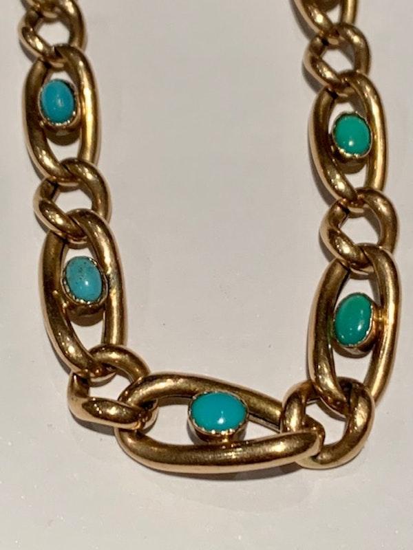 Turquoise Victorian 9ct gold bracelet. Spectrum - image 2
