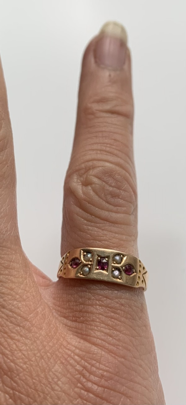 Ruby and pearl Victorian ring. Spectrum - image 3