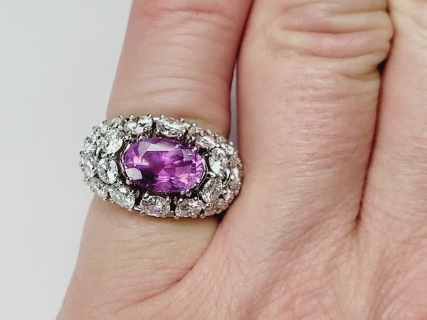 Hot pink sapphire and diamond dress ring sku 4968  DBGEMS - image 5