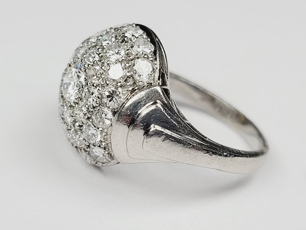 Art deco bombe diamond ring sku 4967  DBGEMS - image 3