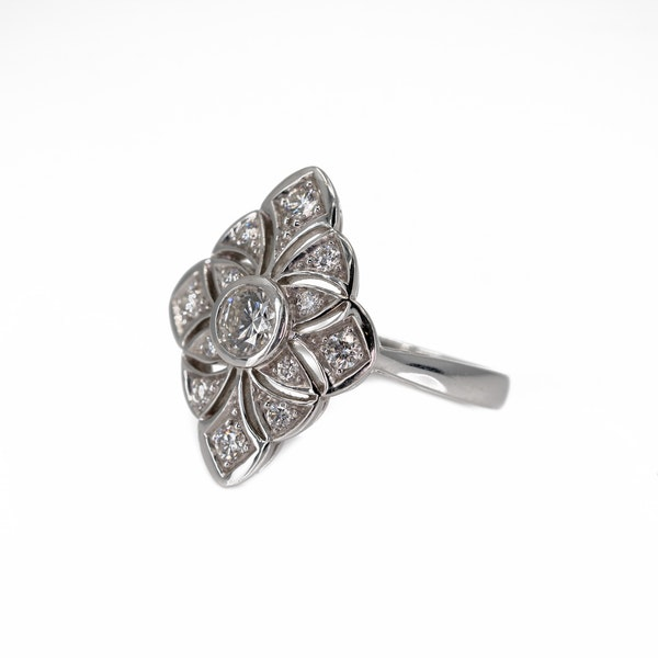 A Pierced Goldwork Diamond Set Ring Offered by The Gilded Lily - image 3