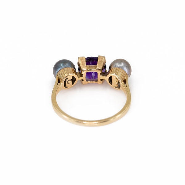 An Amethyst and Grey Pearl Ring Offered by The Gilded Lily - image 4