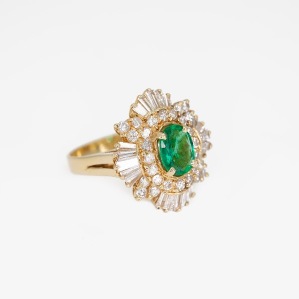 An Emerald and Diamond Cluster Dress Ring Offered by The Gilded Lily - image 2