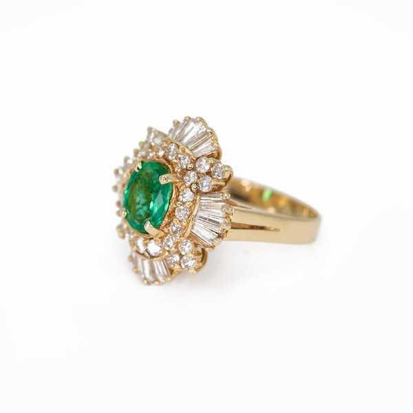 An Emerald and Diamond Cluster Dress Ring Offered by The Gilded Lily - image 3