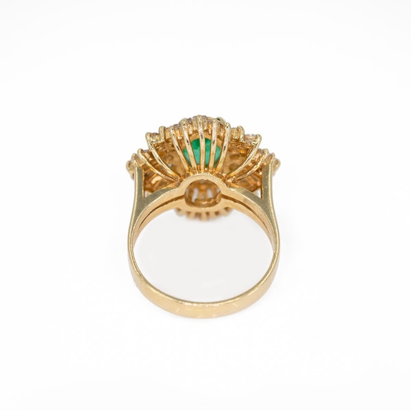 An Emerald and Diamond Cluster Dress Ring Offered by The Gilded Lily - image 4
