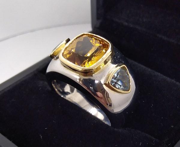 Golden Citrine and Aquamarine Ring - image 2