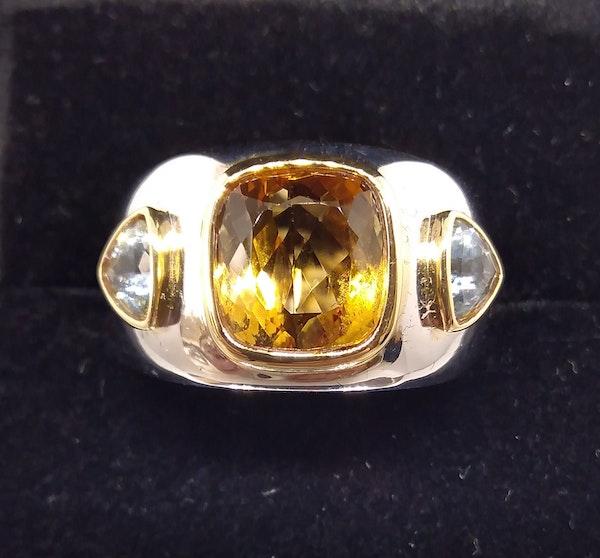 Golden Citrine and Aquamarine Ring - image 3