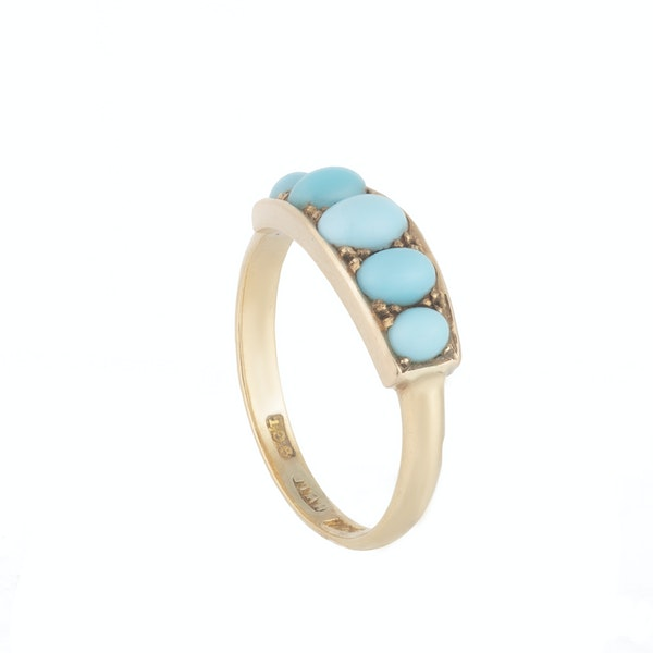 A Five Stone Turquoise Gold Ring - image 2