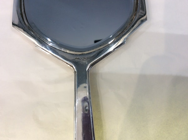 A beautiful silver and enamel hand mirror - image 5
