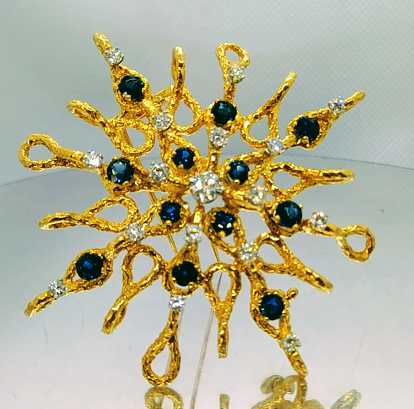 Stylised 60's Sapphire and Diamond Star Brooch/Pendant - image 2