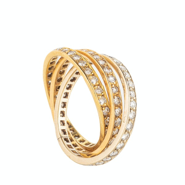 A French Gold Diamond Russian Wedding Ring - image 3