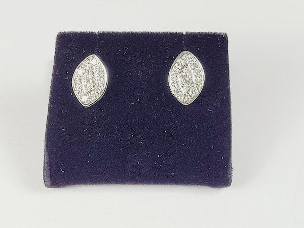 Marquise shaped diamond cluster stud earrings sku 4970 DBGEMS - image 3